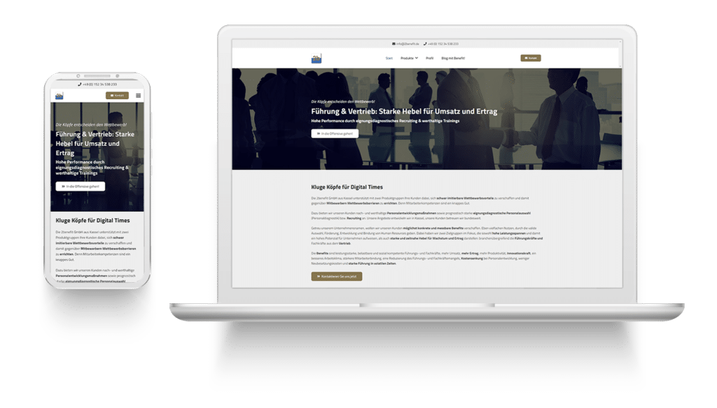Mockup der 2benefit GmbH Website