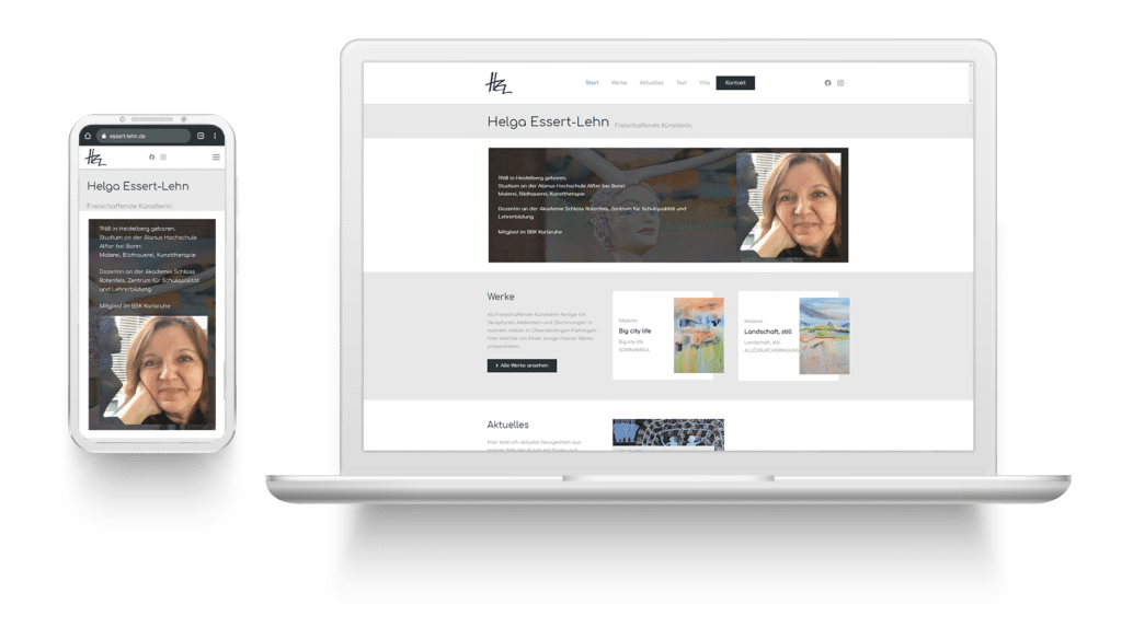 Mockup der Website von Helga Essert-Lehn