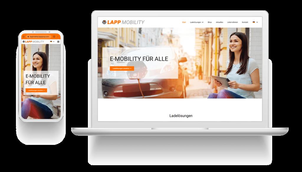 Mockup der Website der Lapp Mobility GmbH